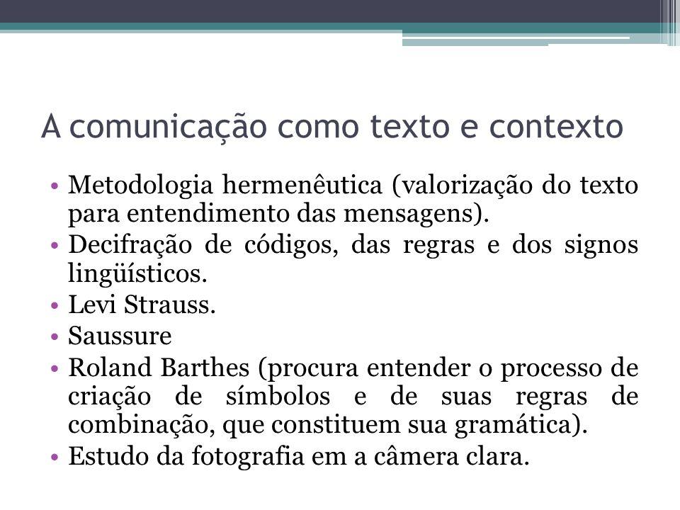 A comunicação como texto e contexto Metodologia hermenêutica (valorização do texto para entendimento das mensagens). Decifração de códigos, das regras