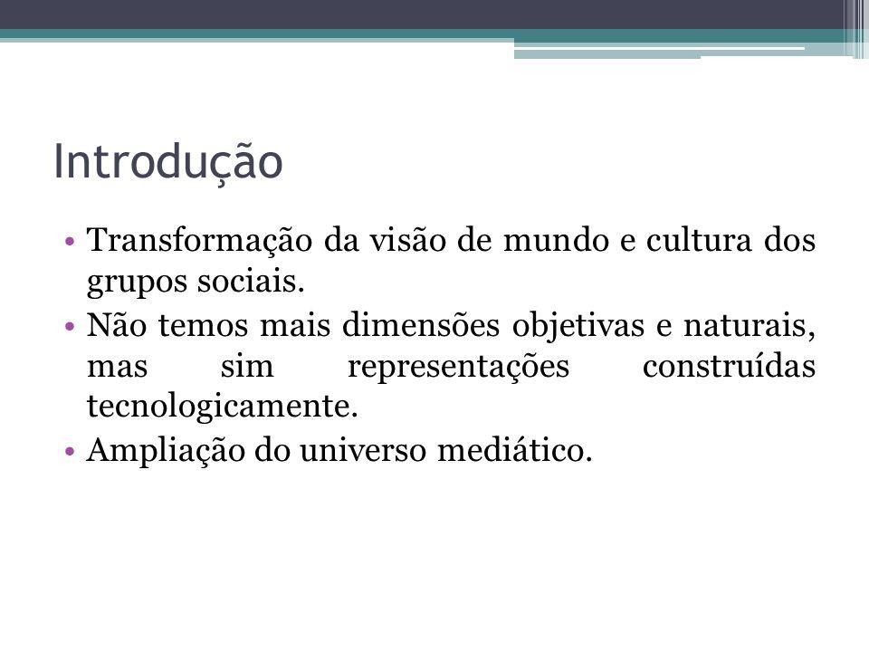 Introdução Transformação da visão de mundo e cultura dos grupos sociais. Não temos mais dimensões objetivas e naturais, mas sim representações constru