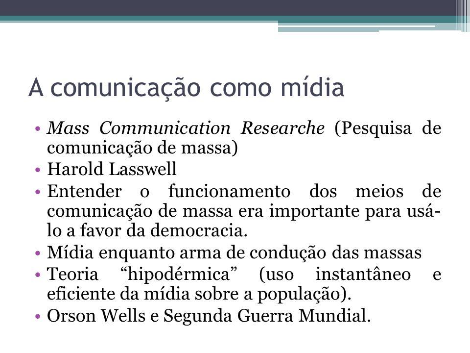 A comunicação como mídia Mass Communication Researche (Pesquisa de comunicação de massa) Harold Lasswell Entender o funcionamento dos meios de comunic