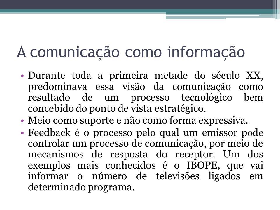 A comunicação como informação Durante toda a primeira metade do século XX, predominava essa visão da comunicação como resultado de um processo tecnoló