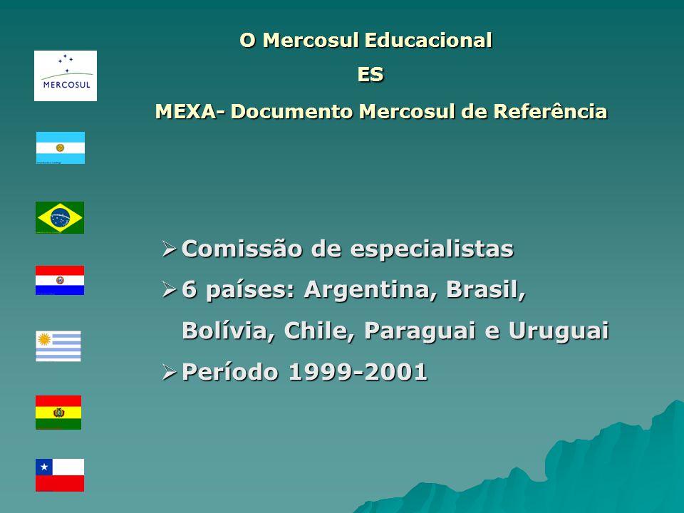 Comissão de especialistas Comissão de especialistas 6 países: Argentina, Brasil, Bolívia, Chile, Paraguai e Uruguai 6 países: Argentina, Brasil, Bolív
