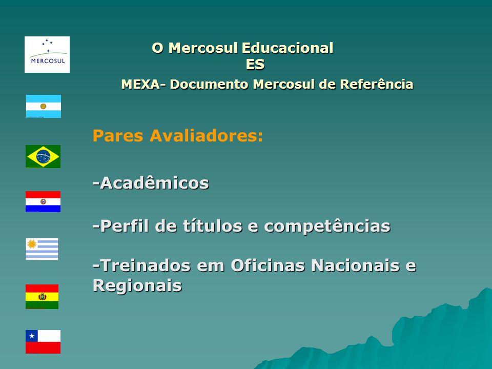 O Mercosul Educacional ES O Mercosul Educacional ES MEXA- Documento Mercosul de Referência MEXA- Documento Mercosul de Referência Pares Avaliadores:-A