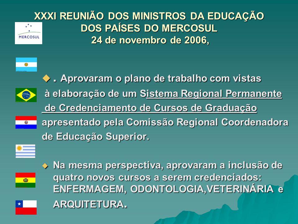 XXXI REUNIÃO DOS MINISTROS DA EDUCAÇÃO DOS PAÍSES DO MERCOSUL 24 de novembro de 2006,. Aprovaram o plano de trabalho com vistas. Aprovaram o plano de