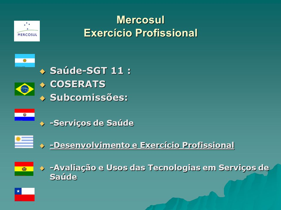 Mercosul Exercício Profissional Saúde-SGT 11 : Saúde-SGT 11 : COSERATS COSERATS Subcomissões: Subcomissões: -Serviços de Saúde -Serviços de Saúde -Desenvolvimento e Exercício Profissional -Desenvolvimento e Exercício Profissional -Avaliação e Usos das Tecnologias em Serviços de Saúde -Avaliação e Usos das Tecnologias em Serviços de Saúde