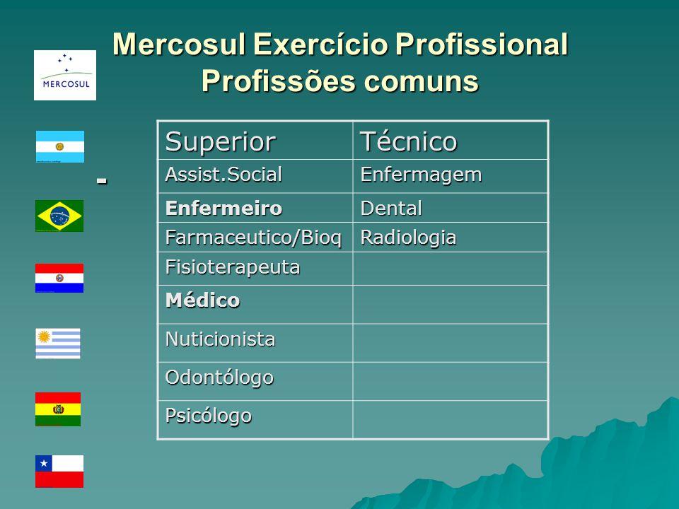 Mercosul Exercício Profissional Profissões comuns -SuperiorTécnicoAssist.SocialEnfermagem EnfermeiroDental Farmaceutico/BioqRadiologia Fisioterapeuta Médico Nuticionista Odontólogo Psicólogo