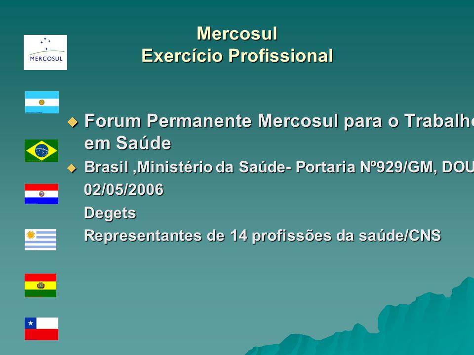 Mercosul Exercício Profissional Forum Permanente Mercosul para o Trabalho em Saúde Forum Permanente Mercosul para o Trabalho em Saúde Brasil,Ministéri