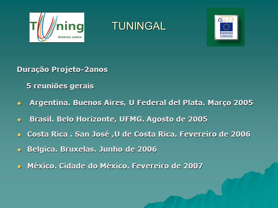 TUNINGAL Duração Projeto-2anos 5 reuniões gerais 5 reuniões gerais Argentina. Buenos Aires, U Federal del Plata. Março 2005 Argentina. Buenos Aires, U