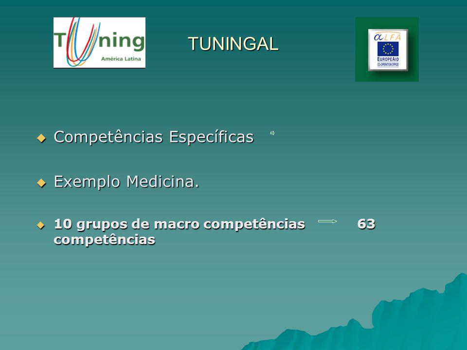 TUNINGAL Competências Específicas Competências Específicas Exemplo Medicina. Exemplo Medicina. 10 grupos de macro competências 63 competências 10 grup