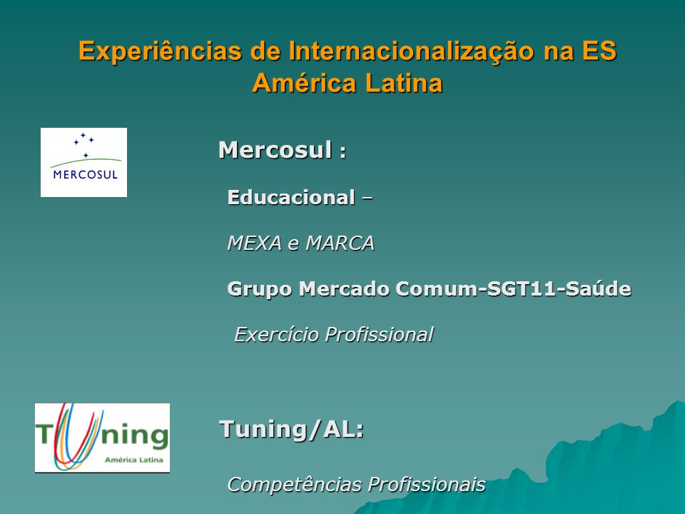 Experiências de Internacionalização na ES América Latina Mercosul : Mercosul : Educacional – Educacional – MEXA e MARCA MEXA e MARCA Grupo Mercado Comum-SGT11-Saúde Grupo Mercado Comum-SGT11-Saúde Exercício Profissional Exercício Profissional Tuning/AL: Tuning/AL: Competências Profissionais Competências Profissionais