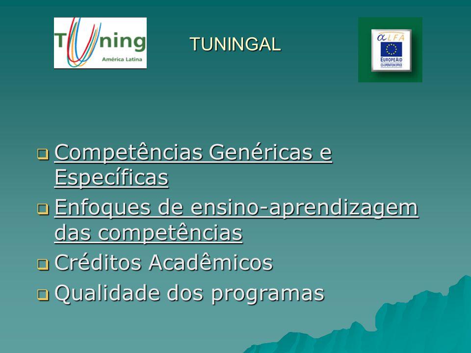 TUNINGAL Competências Genéricas e Específicas Competências Genéricas e Específicas Enfoques de ensino-aprendizagem das competências Enfoques de ensino