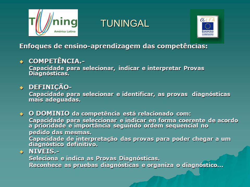 TUNINGAL Enfoques de ensino-aprendizagem das competências: COMPETÊNCIA.- COMPETÊNCIA.- Capacidade para selecionar, indicar e interpretar Provas Diagnó