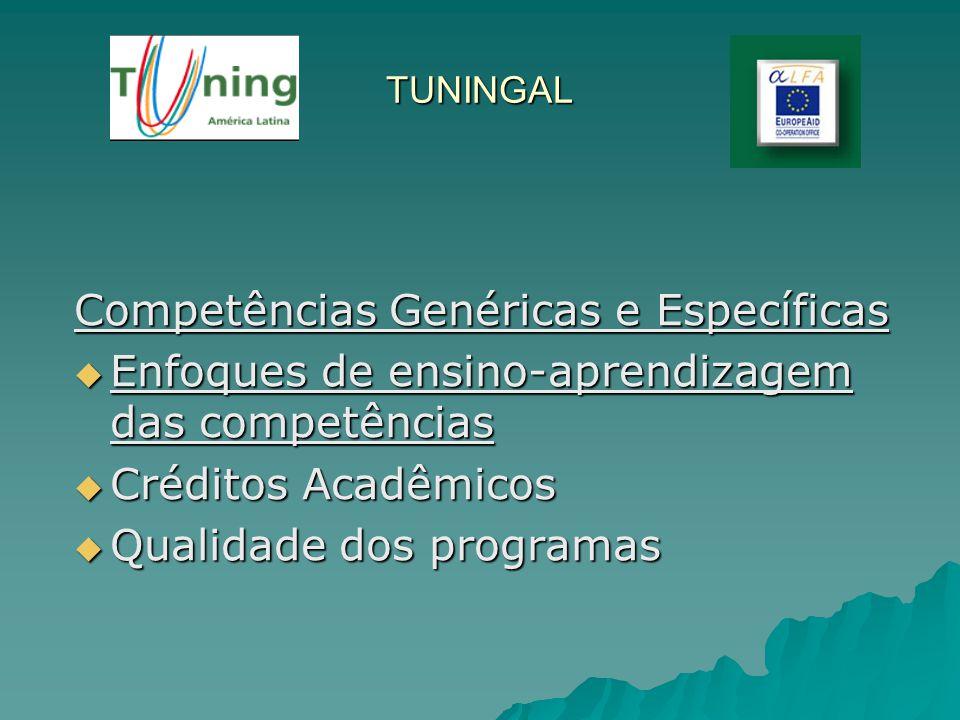 TUNINGAL Competências Genéricas e Específicas Enfoques de ensino-aprendizagem das competências Enfoques de ensino-aprendizagem das competências Crédit