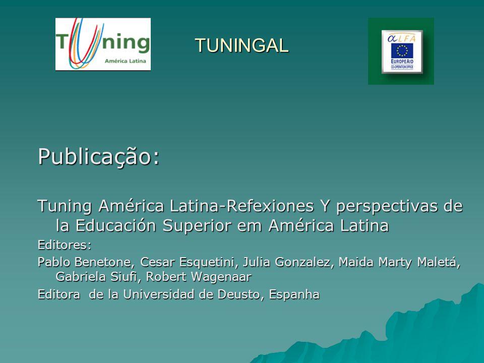 TUNINGAL Publicação: Tuning América Latina-Refexiones Y perspectivas de la Educación Superior em América Latina Editores: Pablo Benetone, Cesar Esquet