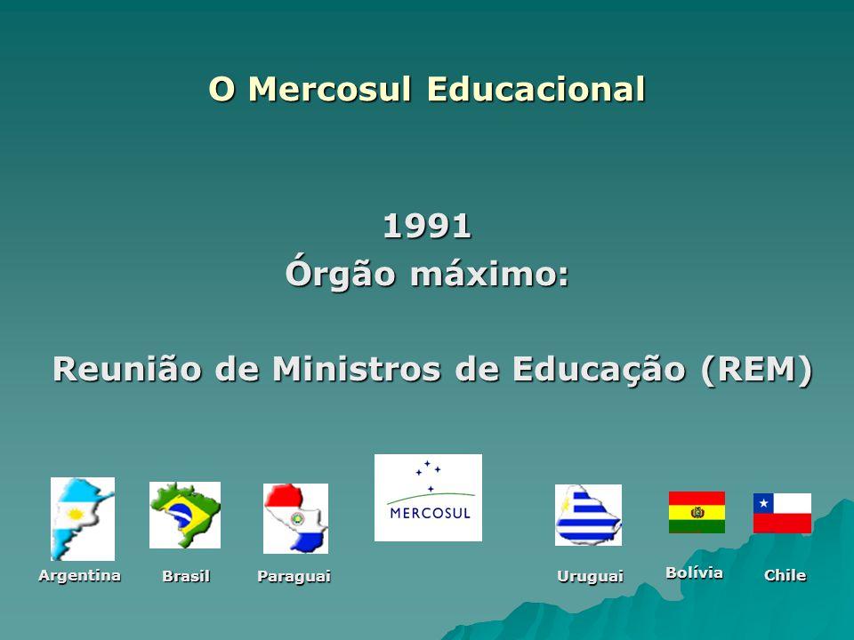 O Mercosul Educacional 1991 Órgão máximo: Reunião de Ministros de Educação (REM) Reunião de Ministros de Educação (REM) Argentina Brasil ParaguaiUrugu