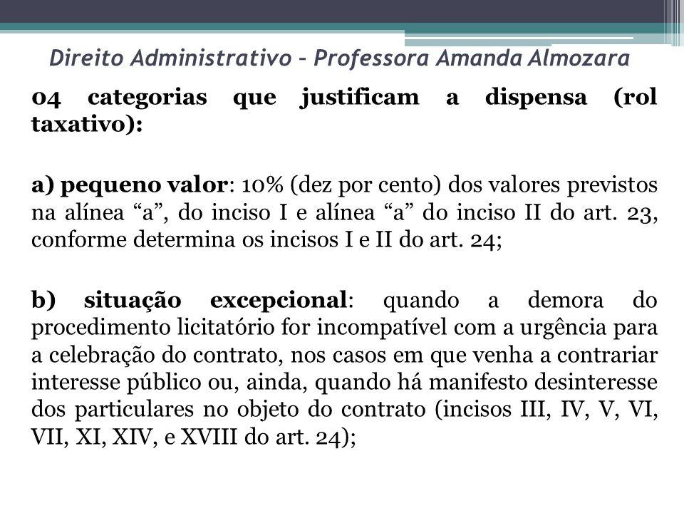 Direito Administrativo – Professora Amanda Almozara 04 categorias que justificam a dispensa (rol taxativo): a) pequeno valor: 10% (dez por cento) dos valores previstos na alínea a, do inciso I e alínea a do inciso II do art.
