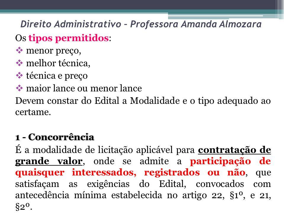 Direito Administrativo – Professora Amanda Almozara Os tipos permitidos: menor preço, melhor técnica, técnica e preço maior lance ou menor lance Devem