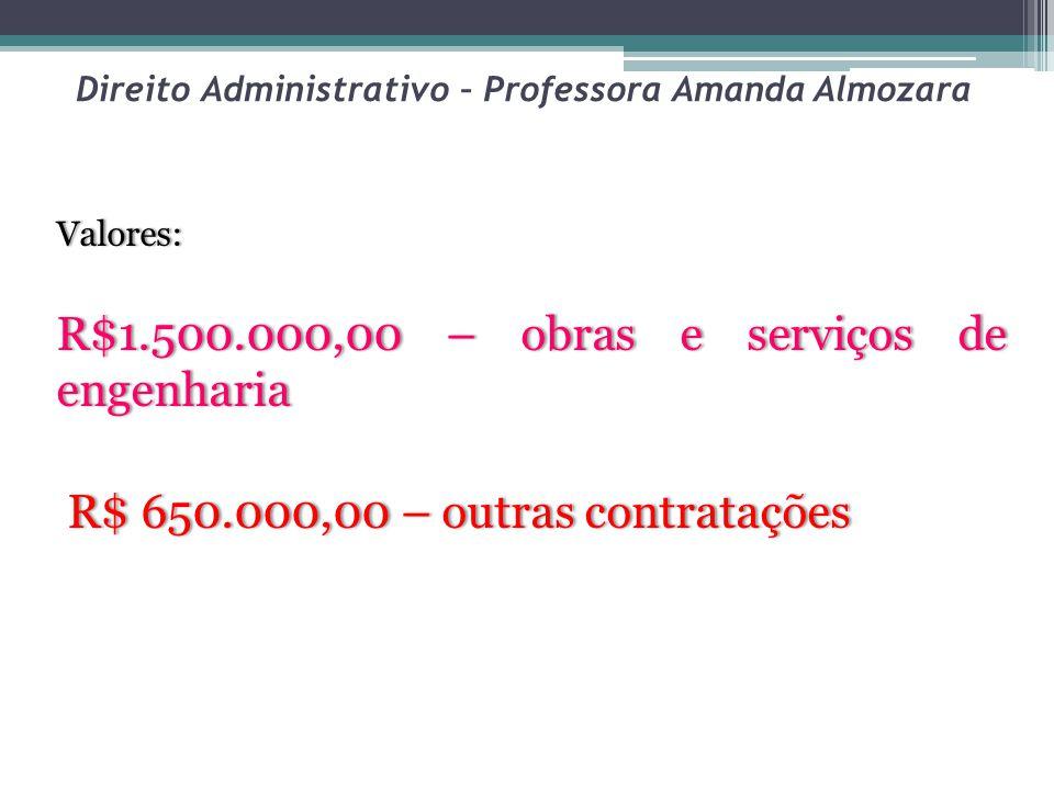 Direito Administrativo – Professora Amanda Almozara Valores: R$1.500.000,00 – obras e serviços de engenharia R$ 650.000,00 – outras contratações R$ 650.000,00 – outras contratações