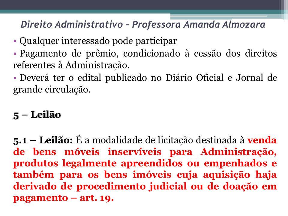 Direito Administrativo – Professora Amanda Almozara Qualquer interessado pode participar Pagamento de prêmio, condicionado à cessão dos direitos refer