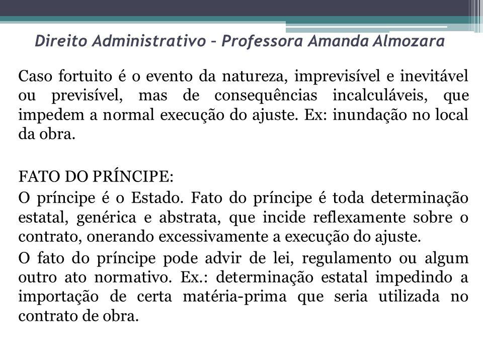 Direito Administrativo – Professora Amanda Almozara Caso fortuito é o evento da natureza, imprevisível e inevitável ou previsível, mas de consequência