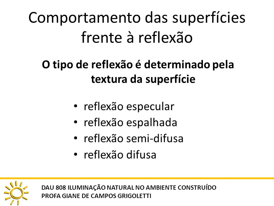 Comportamento das superfícies frente à reflexão reflexão especular reflexão espalhada reflexão semi-difusa reflexão difusa O tipo de reflexão é determ