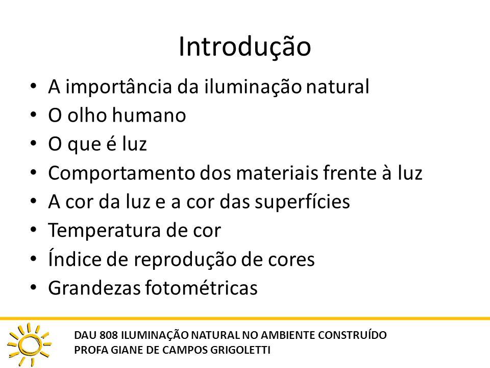 Introdução A importância da iluminação natural O olho humano O que é luz Comportamento dos materiais frente à luz A cor da luz e a cor das superfícies