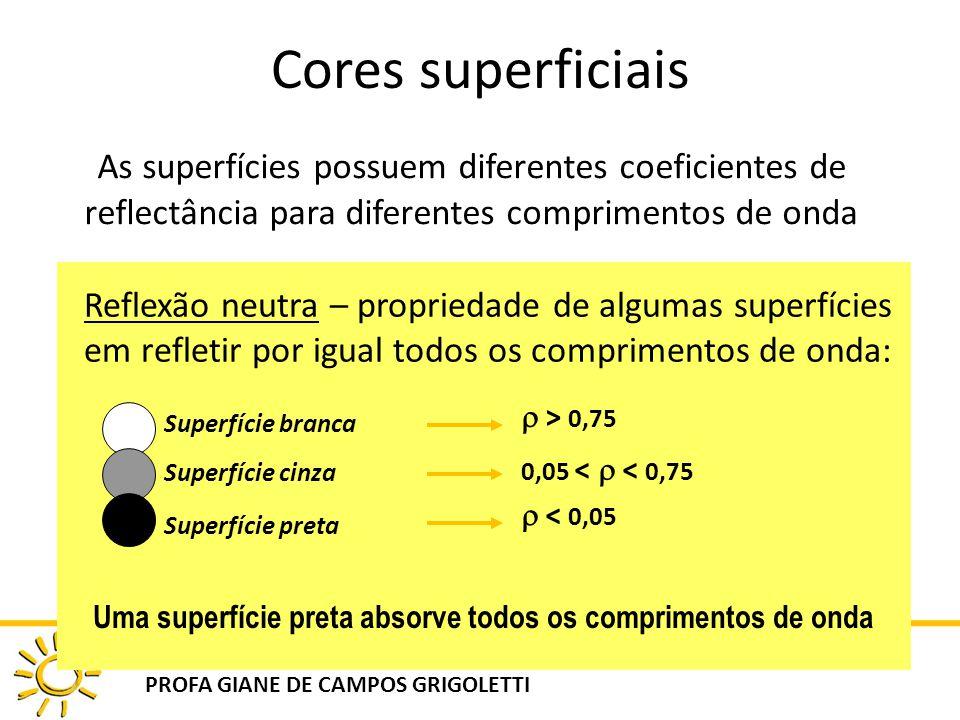 DAU 808 ILUMINAÇÃO NATURAL NO AMBIENTE CONSTRUÍDO PROFA GIANE DE CAMPOS GRIGOLETTI Cores superficiais As superfícies possuem diferentes coeficientes d