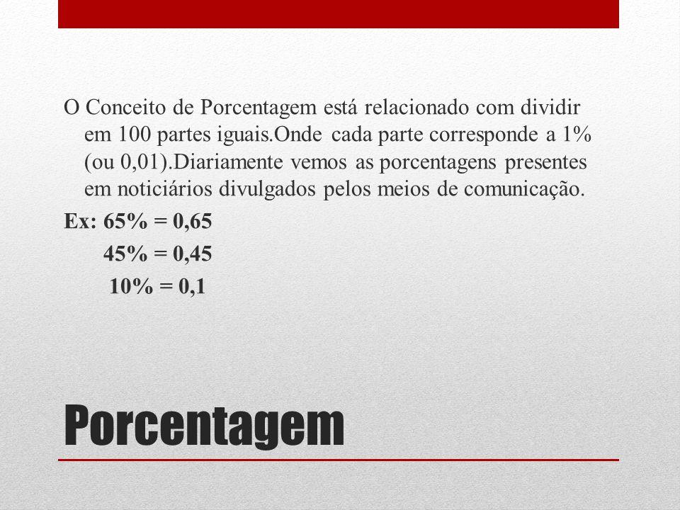 Porcentagem O Conceito de Porcentagem está relacionado com dividir em 100 partes iguais.Onde cada parte corresponde a 1% (ou 0,01).Diariamente vemos a