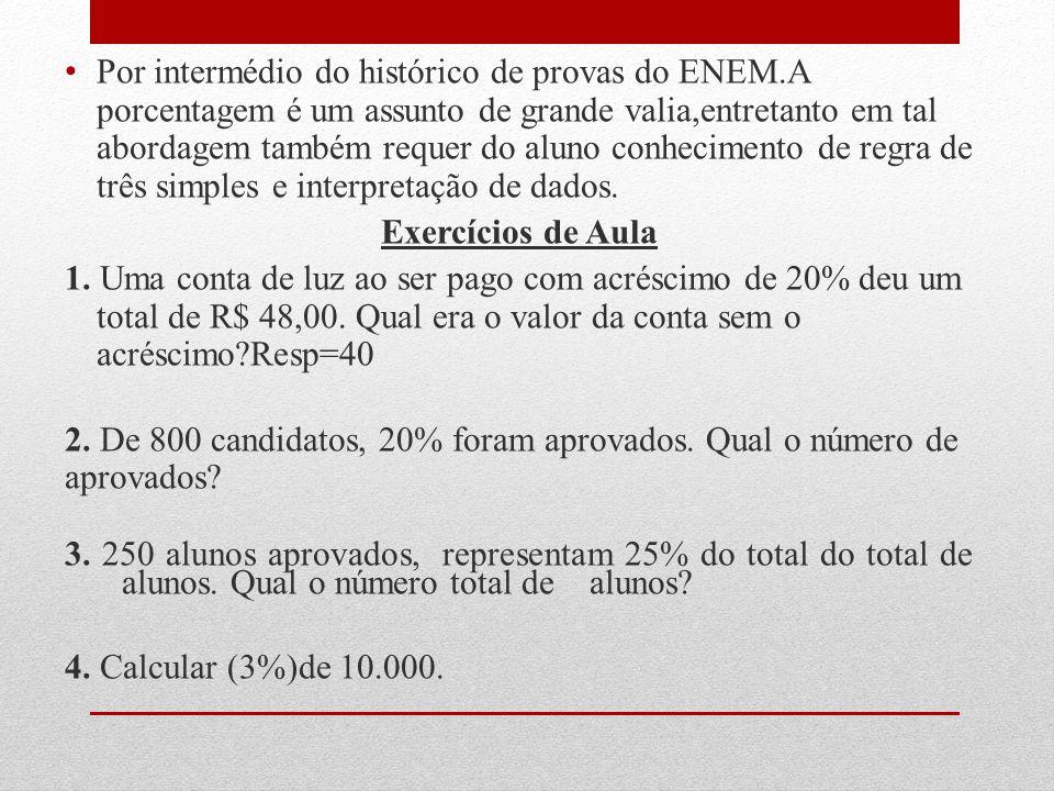 Por intermédio do histórico de provas do ENEM.A porcentagem é um assunto de grande valia,entretanto em tal abordagem também requer do aluno conhecimen