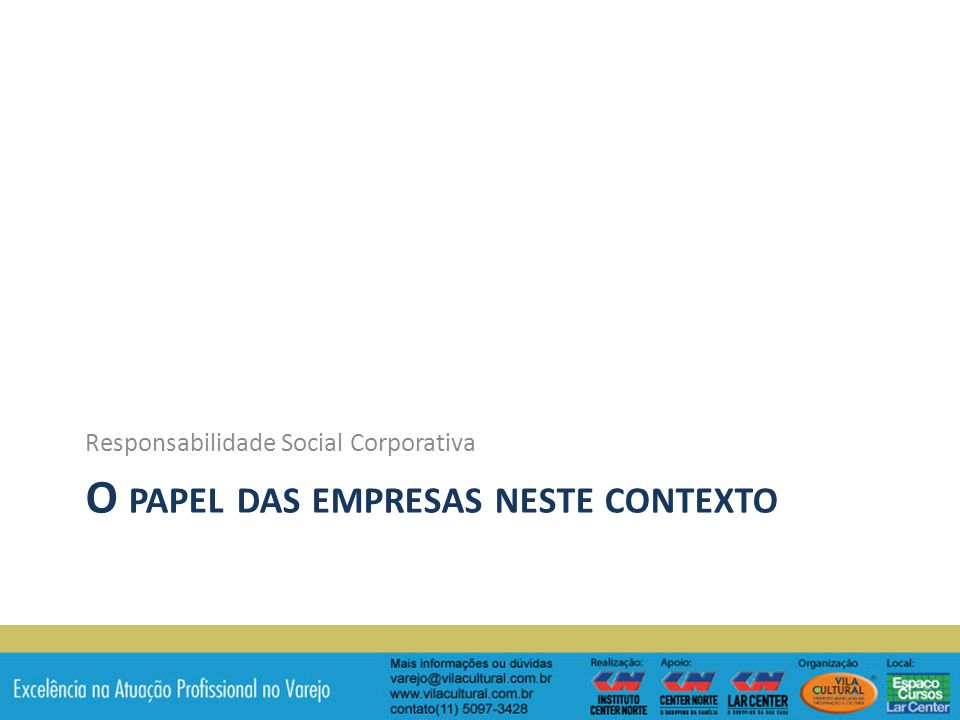 O PAPEL DAS EMPRESAS NESTE CONTEXTO Responsabilidade Social Corporativa