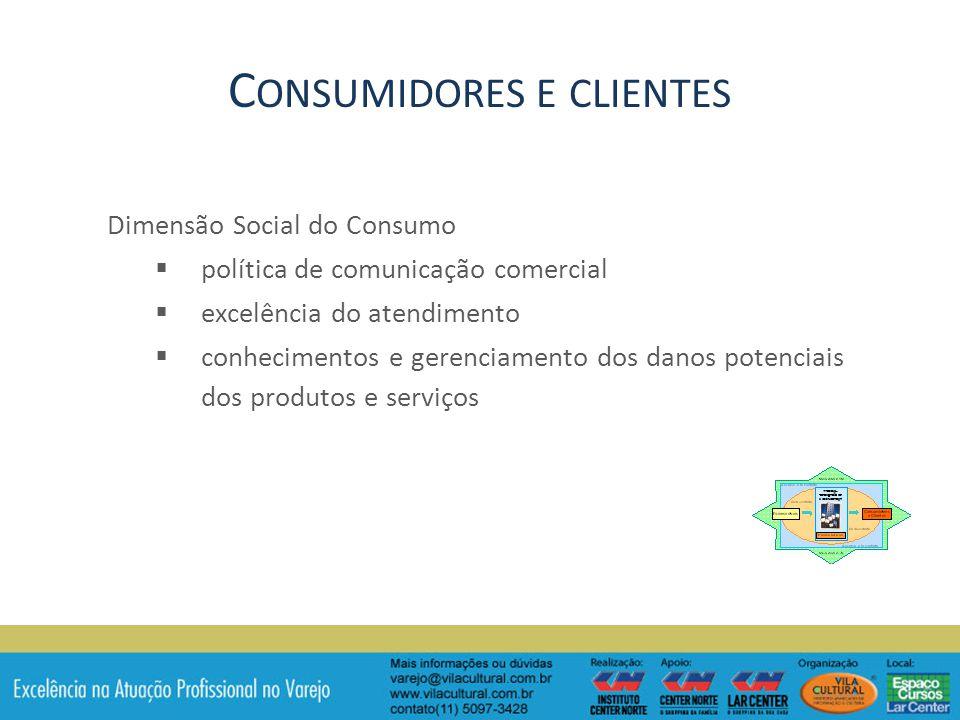 Dimensão Social do Consumo política de comunicação comercial excelência do atendimento conhecimentos e gerenciamento dos danos potenciais dos produtos e serviços C ONSUMIDORES E CLIENTES