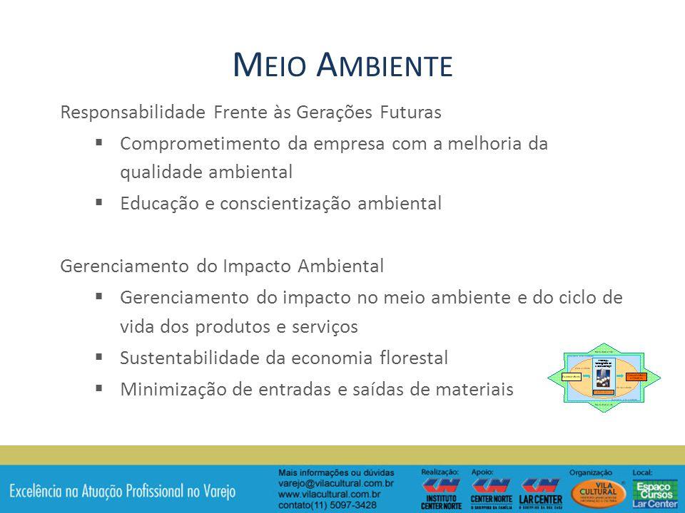 Responsabilidade Frente às Gerações Futuras Comprometimento da empresa com a melhoria da qualidade ambiental Educação e conscientização ambiental Gerenciamento do Impacto Ambiental Gerenciamento do impacto no meio ambiente e do ciclo de vida dos produtos e serviços Sustentabilidade da economia florestal Minimização de entradas e saídas de materiais M EIO A MBIENTE
