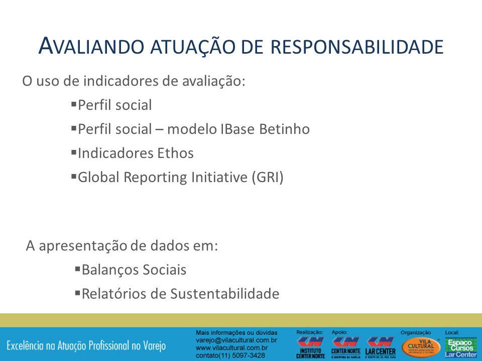 O uso de indicadores de avaliação: Perfil social Perfil social – modelo IBase Betinho Indicadores Ethos Global Reporting Initiative (GRI) A apresentação de dados em: Balanços Sociais Relatórios de Sustentabilidade A VALIANDO ATUAÇÃO DE RESPONSABILIDADE