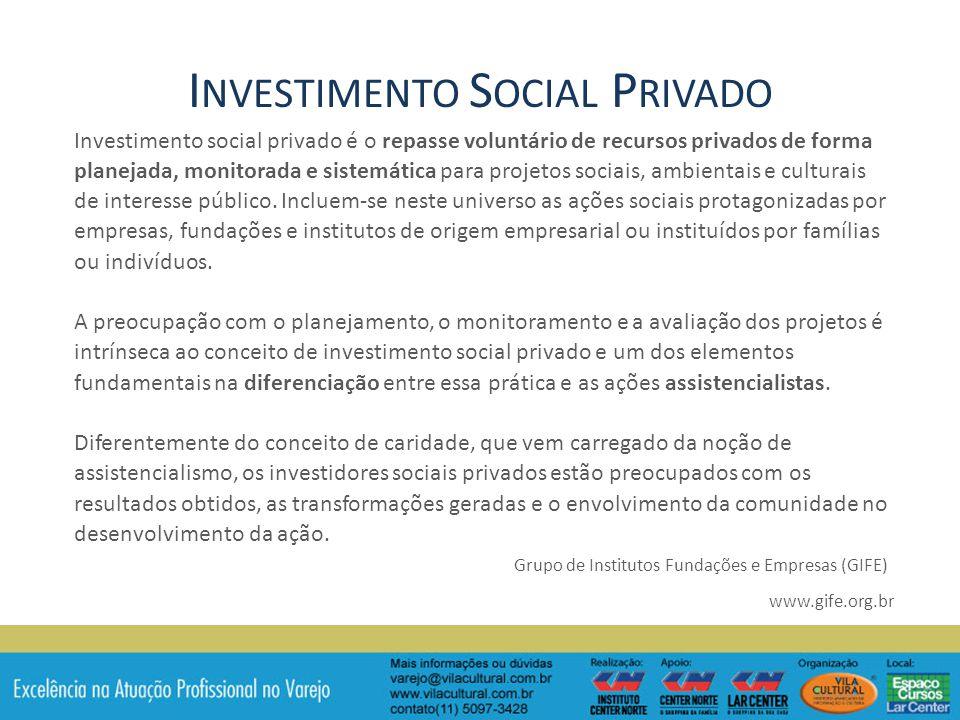 Investimento social privado é o repasse voluntário de recursos privados de forma planejada, monitorada e sistemática para projetos sociais, ambientais e culturais de interesse público.