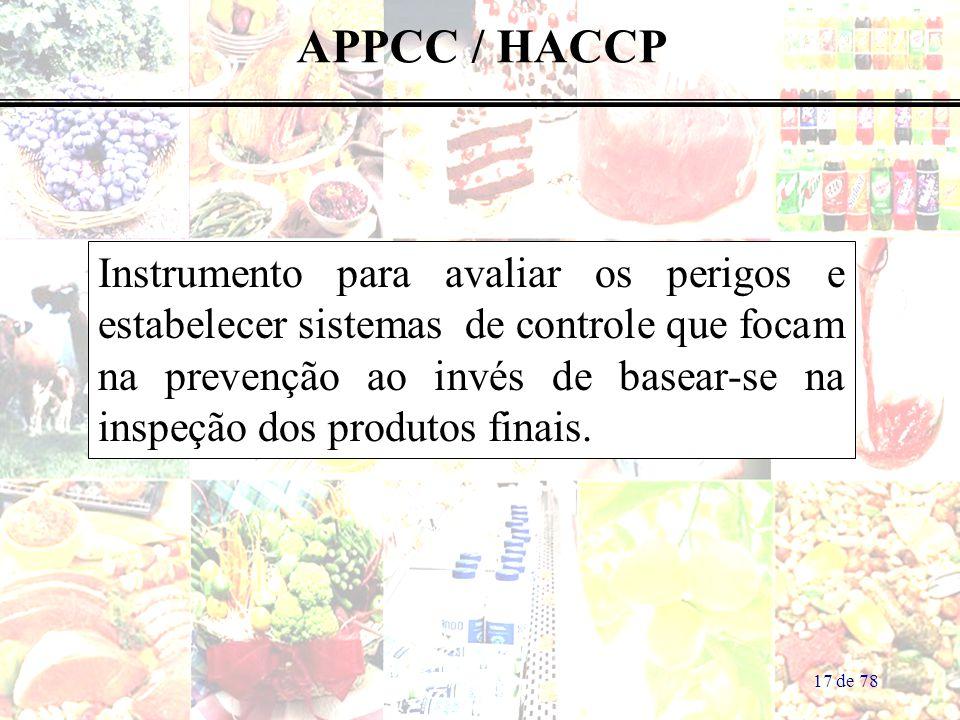 17 de 78 APPCC / HACCP Instrumento para avaliar os perigos e estabelecer sistemas de controle que focam na prevenção ao invés de basear-se na inspeção dos produtos finais.