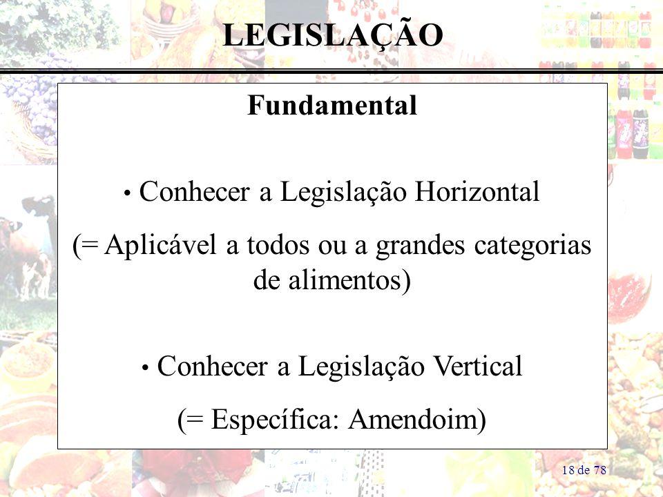 18 de 78 LEGISLAÇÃO Fundamental Conhecer a Legislação Horizontal (= Aplicável a todos ou a grandes categorias de alimentos) Conhecer a Legislação Vertical (= Específica: Amendoim)