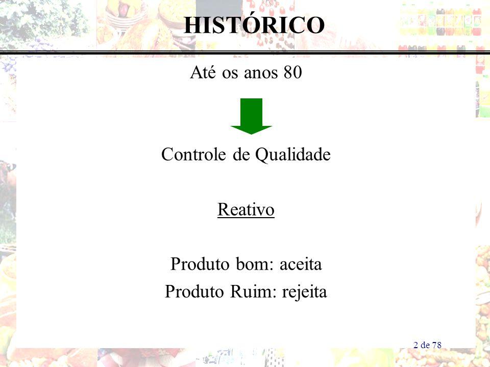 HISTÓRICO Até os anos 80 Controle de Qualidade Reativo Produto bom: aceita Produto Ruim: rejeita 2 de 78