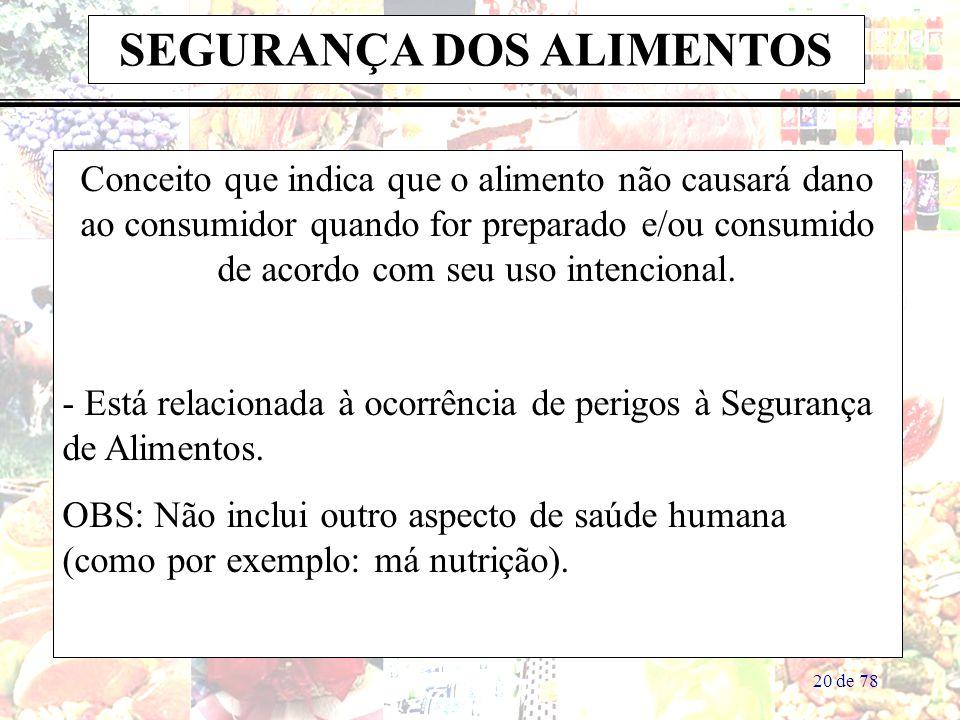 20 de 78 SEGURANÇA DOS ALIMENTOS Conceito que indica que o alimento não causará dano ao consumidor quando for preparado e/ou consumido de acordo com seu uso intencional.