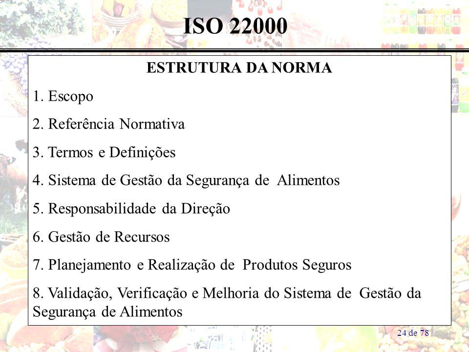 24 de 78 ISO 22000 ESTRUTURA DA NORMA 1. Escopo 2. Referência Normativa 3. Termos e Definições 4. Sistema de Gestão da Segurança de Alimentos 5. Respo