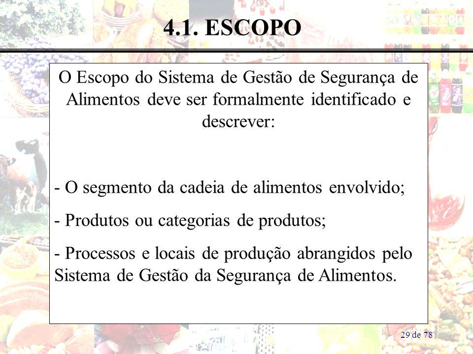 29 de 78 4.1. ESCOPO O Escopo do Sistema de Gestão de Segurança de Alimentos deve ser formalmente identificado e descrever: - O segmento da cadeia de