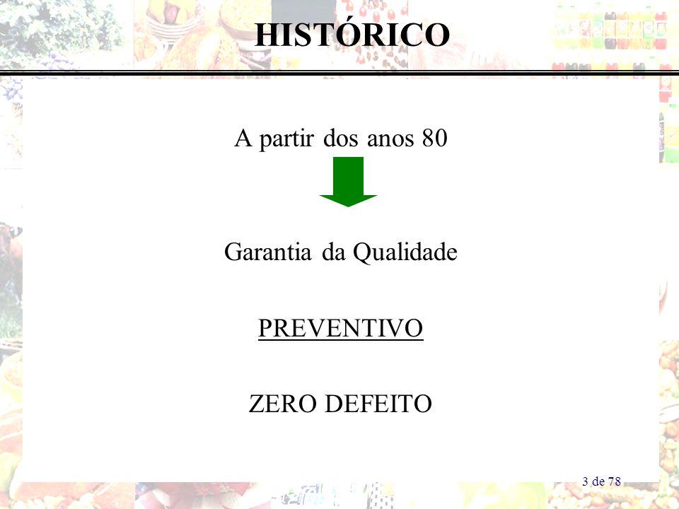 HISTÓRICO A partir dos anos 80 Garantia da Qualidade PREVENTIVO ZERO DEFEITO 3 de 78