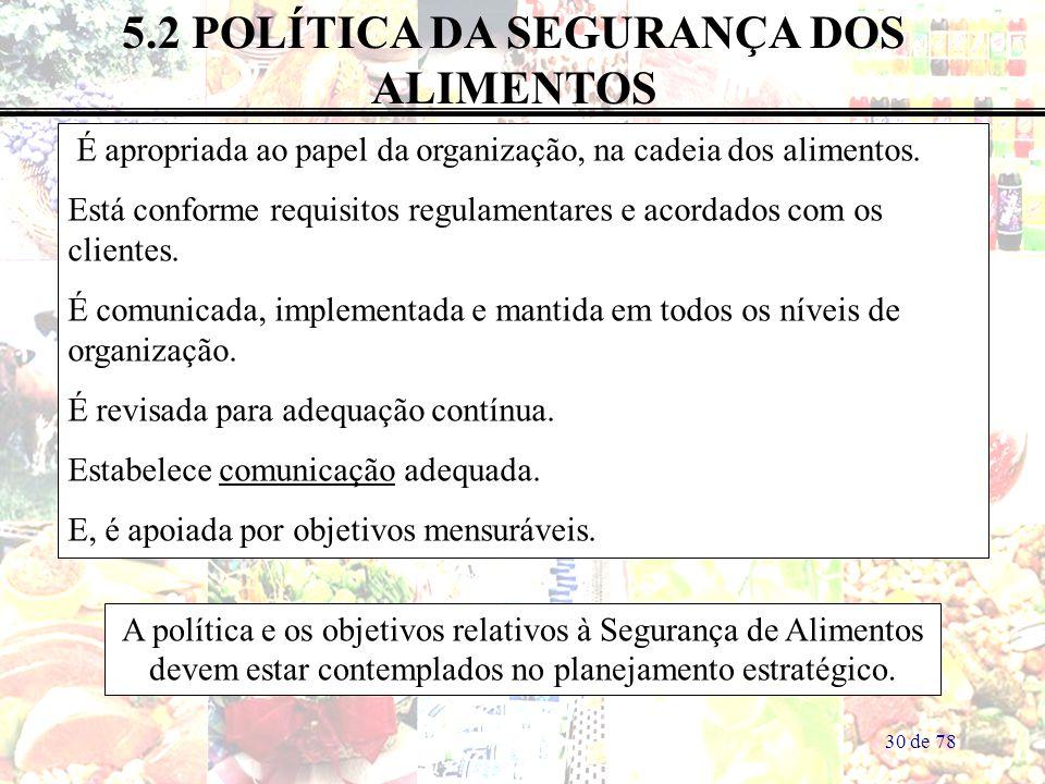 30 de 78 5.2 POLÍTICA DA SEGURANÇA DOS ALIMENTOS É apropriada ao papel da organização, na cadeia dos alimentos. Está conforme requisitos regulamentare