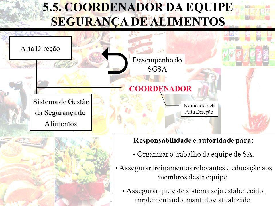 31 de 183 5.5. COORDENADOR DA EQUIPE SEGURANÇA DE ALIMENTOS Alta Direção Sistema de Gestão Sistema de Gestão da Segurança de Alimentos COORDENADOR Nom