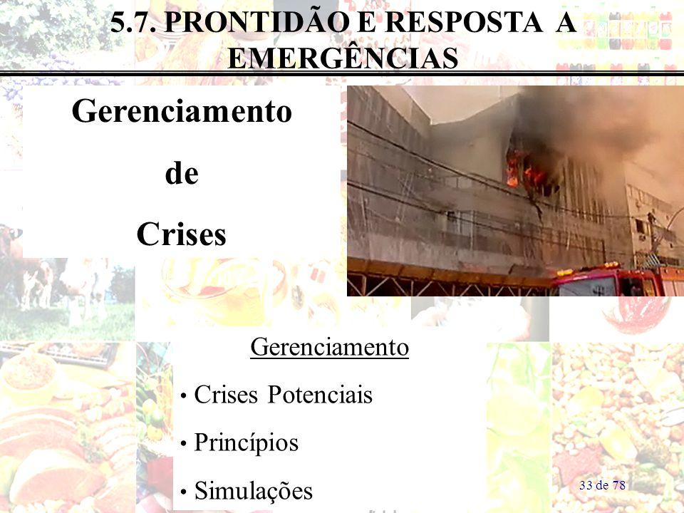 33 de 78 5.7. PRONTIDÃO E RESPOSTA A EMERGÊNCIAS Gerenciamento de Crises Gerenciamento Crises Potenciais Princípios Simulações