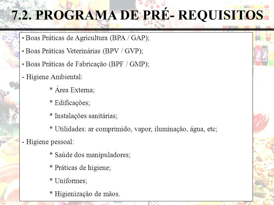 38 de 82 7.2. PROGRAMA DE PRÉ- REQUISITOS Boas Práticas de Agricultura (BPA / GAP); Boas Práticas Veterinárias (BPV / GVP); Boas Práticas de Fabricaçã