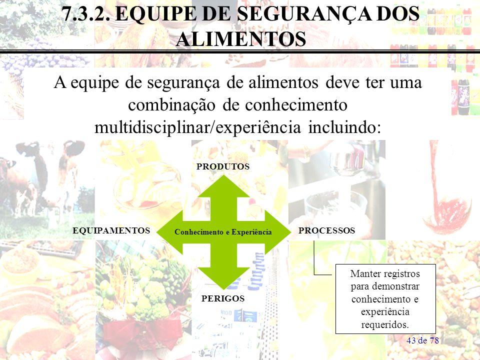 43 de 78 7.3.2. EQUIPE DE SEGURANÇA DOS ALIMENTOS A equipe de segurança de alimentos deve ter uma combinação de conhecimento multidisciplinar/experiên