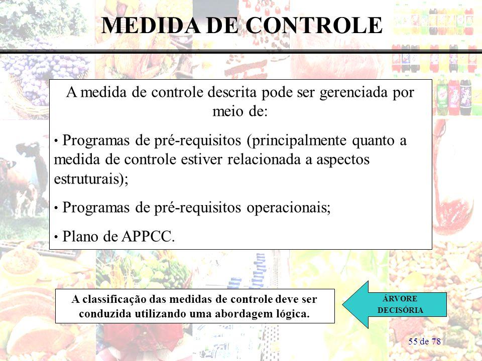 55 de 78 MEDIDA DE CONTROLE A medida de controle descrita pode ser gerenciada por meio de: Programas de pré-requisitos (principalmente quanto a medida
