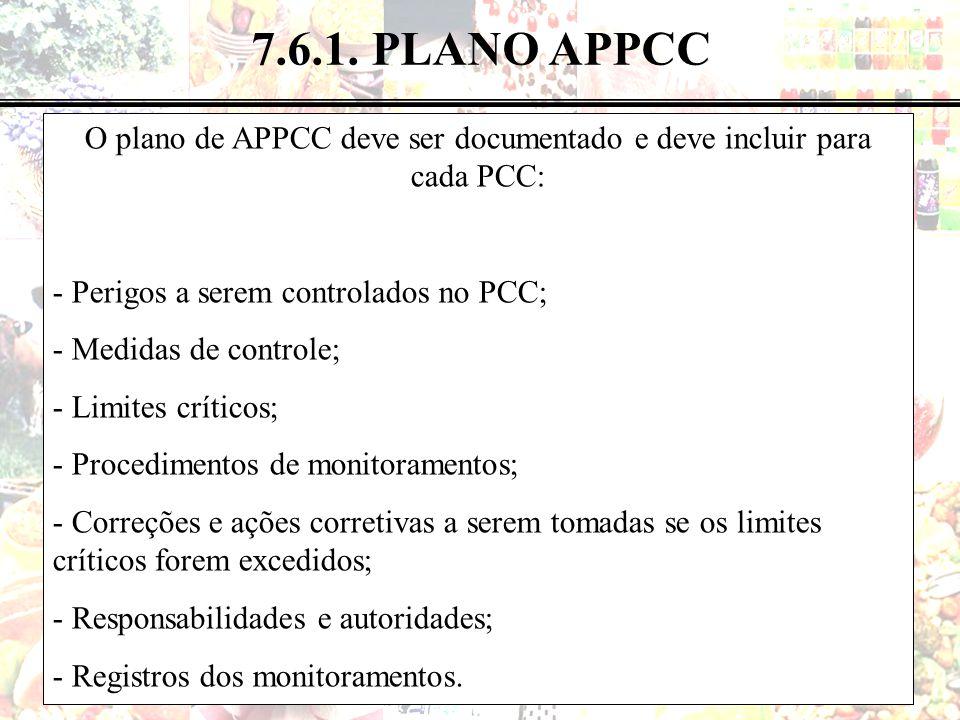 56 de 183 7.6.1. PLANO APPCC O plano de APPCC deve ser documentado e deve incluir para cada PCC: - Perigos a serem controlados no PCC; - Medidas de co