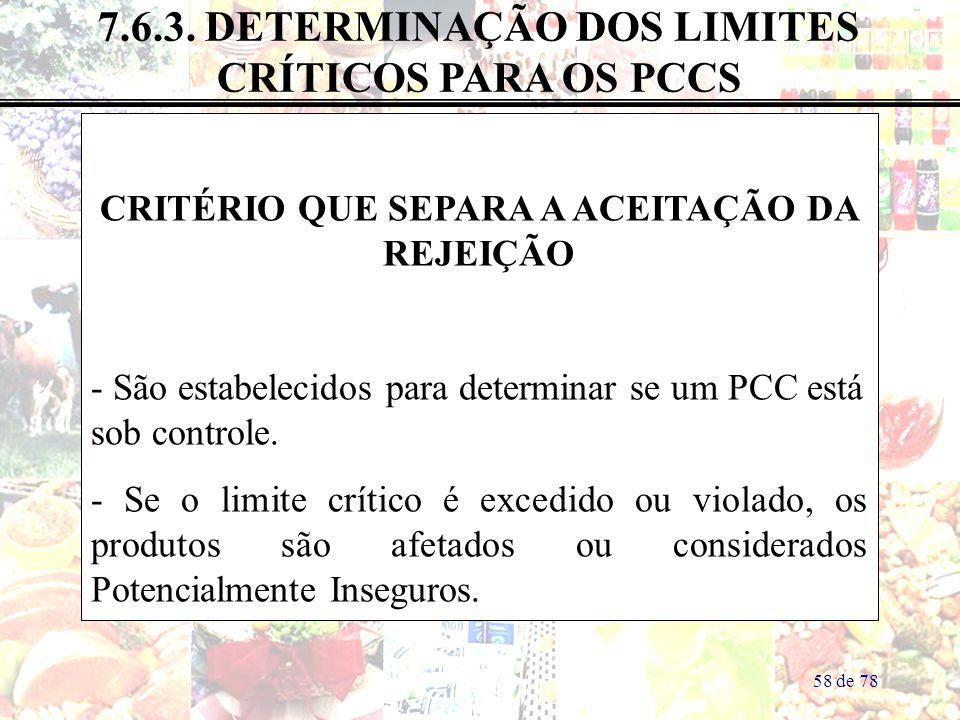 58 de 78 7.6.3. DETERMINAÇÃO DOS LIMITES CRÍTICOS PARA OS PCCS CRITÉRIO QUE SEPARA A ACEITAÇÃO DA REJEIÇÃO - São estabelecidos para determinar se um P