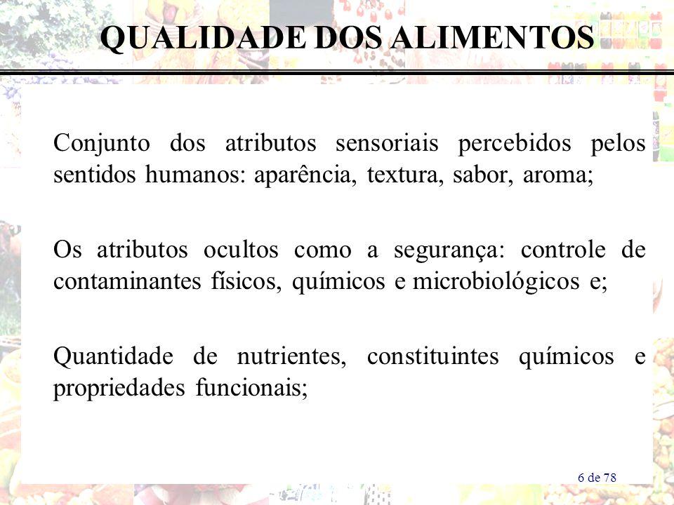 Conjunto dos atributos sensoriais percebidos pelos sentidos humanos: aparência, textura, sabor, aroma; Os atributos ocultos como a segurança: controle