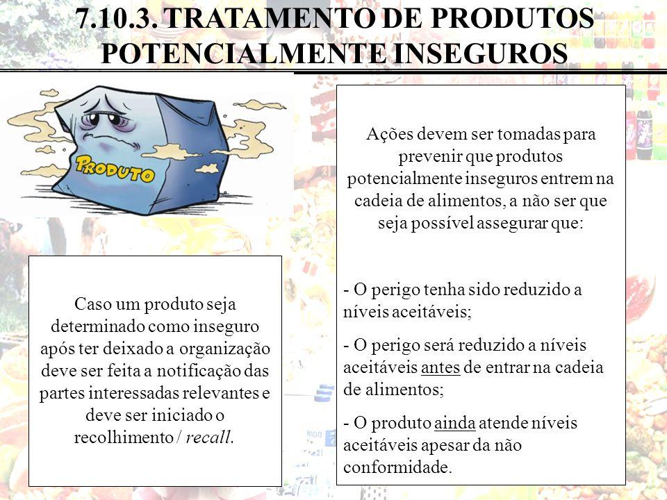 65 de 82 7.10.3. TRATAMENTO DE PRODUTOS POTENCIALMENTE INSEGUROS Ações devem ser tomadas para prevenir que produtos potencialmente inseguros entrem na